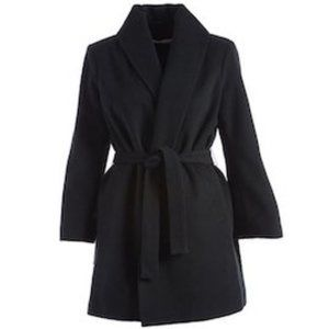 T Tahari Black Gabrielle Wool-Blend Wrap Coat